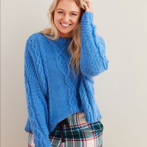 NEW Aerie Super Soft Cable Knit Sweater Blue
